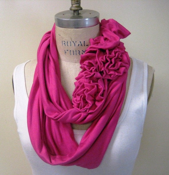 Pink scarves, Infinity scarf, Pink infinity scarf, ruffle scarf