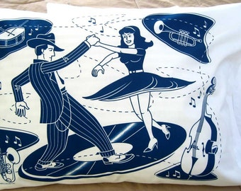 Swing Dancers Pillowcases/ Maynard's Mousetrap/ Blue/ Rockabilly