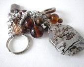 Key Ring, Purse Bling, Key Fob, made of Gemstones in Beautiful Browns, Fall Fashion