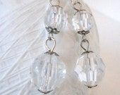 Sale, Crystal Clear Drop Earrings with Silver Accents