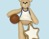Basketball Belly Bear HANDMADE POLYMER CLAY Personalized Christmas Ornament