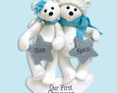 Polar Bear Couple/ Family Polymer Clay Personalized Christmas Ornament