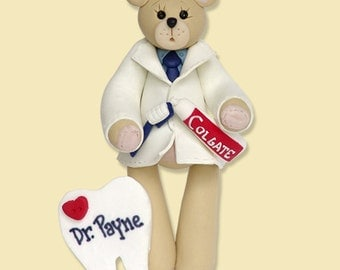 Dentist Belly Bear Polymer Clay Personalized Christmas Ornament