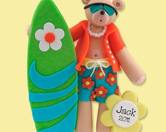 Belly Bear Surfer  HANDMADE Polymer Clay Personalized Christmas Ornament - Limited Edition