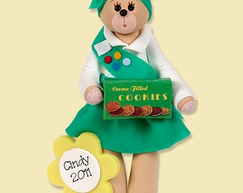 Girl Scout Belly Bear  Polymer Clay Personalized Christmas Ornament