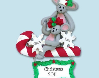 Merry Mouse Couple  Polymer Clay Personalized Christmas Ornament