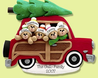 Belly Bear Family of 5 in Woody Wagon POLYMER CLAY Personalized Christmas Ornament