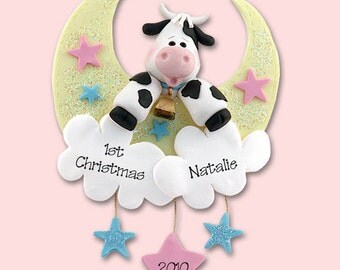 Baby's First Christmas Personalized Christmas Ornament  - HANDMADE Polymer Clay Ornament - Cow in Moon