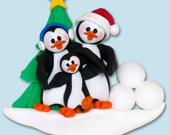 PENGUIN FAMILY of 3 HANDMADE Polymer Clay Personalized Christmas Ornament