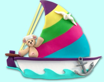Belly Bear Family of 1 in Sailboat  Polymer Clay Personalized Christmas Ornament