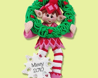 Elf with Wreath - HANDMADE  Polymer Clay Personalized Christmas Ornament
