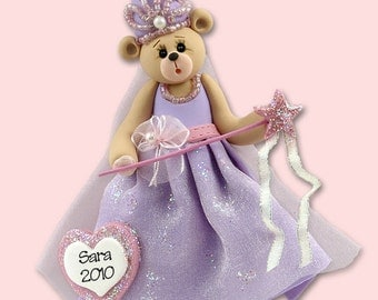 Belly Bear Princess Polymer Clay Personalized Christmas Ornament