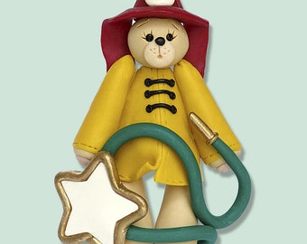 FIREMAN Belly  Bear HANDMADE Polymer Clay  Personalized Christmas Ornament  - Matte Finish