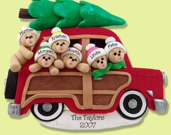 Belly Bear Family of 6 in Woody Wagon HANDMADE POLYMER CLAY Personalized Christmas Ornament