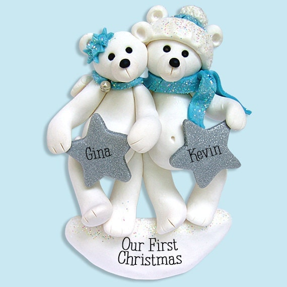 polar bear couple   family polymer clay personalized christmas