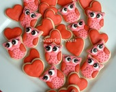 Valentines day - Owl cookies and Hearts - Valentine Cookies - 2 dozen MINI cookies - FEATURED on Etsy Finds