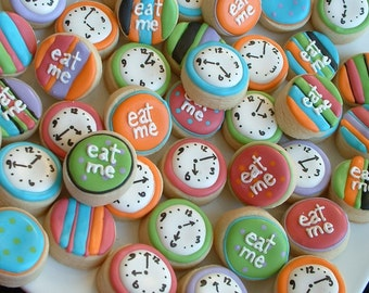Alice in Wonderland - Eat Me MINI cookies - clock mini cookies - cookie favors - 2, 3, or 4 dozen decorated cookies