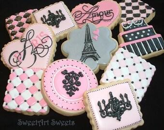 Paris cookies - 1 dozen - Decorated cookie favors