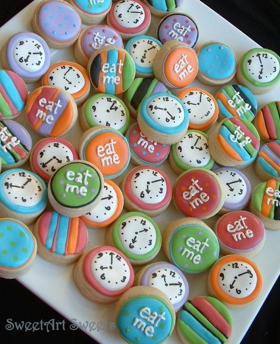 Alice in Wonderland - Eat Me MINI cookies - clock mini cookies - cookie favors - 2 or 3 dozen decorated cookies