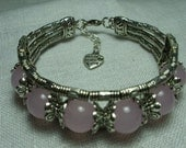 Rose Quartz & Tibetan Silver Bracelet - One Size Fits All - Aka - Love Stone or the Heart Stone - Made With Love Charm