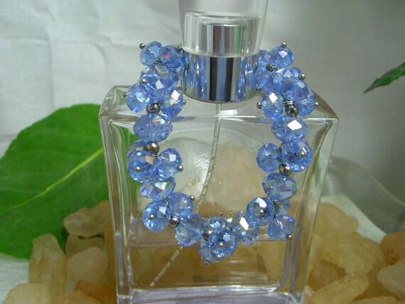 Denim Blue- Aurora Borealis Faceted Crystal Bracelet - Durable Stretch Cord Bracelets - One Size Fits All