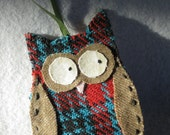 owl ornament from vintage wool fabric