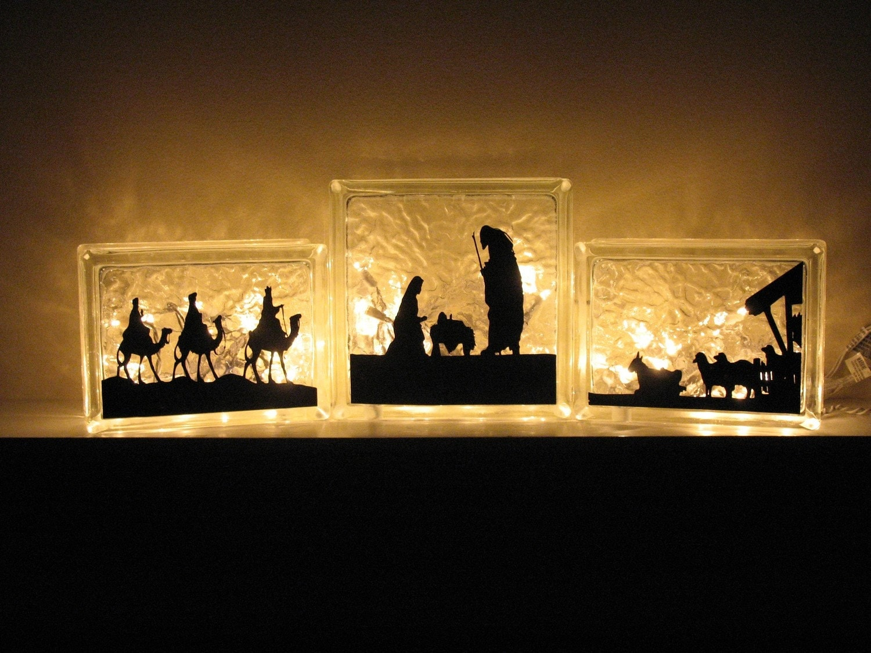 Nativity Vinyl For 3 Set Glass Block
