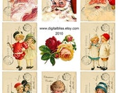 Digital Art Sale Design, Download Christmas Postcards ATC, Instant Download