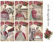 Digital Art Sale Design, Collage Sheet Marie Antoinette Be My Valentine, Instant Download