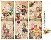 Digital Download Vintage Love Valentine Kids Cards Gift Tags ECS, Instant Download