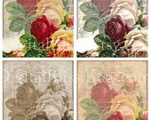 Floral Digital Art, Digital Collage Sheet, Roses,  Vintage Roses Background, Digital card, Scrapbook Embellishment, Digital Background