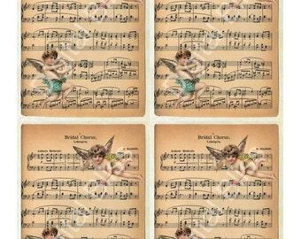 Digital Collage Sheet Bridal Cherub Music ATC GiftTags