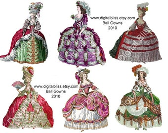 Digital Art Sale Design, Antoinette Ball Gown Paper Dolls Digital Download Versailles, Instant Download