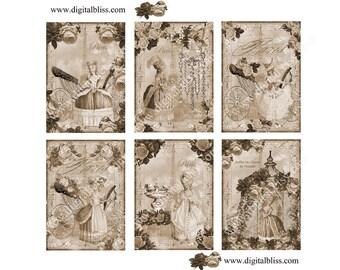 Digital Art, Marie Antoinette Digita,l ATC, Collage Sheet, Visits The Eiffel Tower, Paris in Sepia, Antique Digital BAckground