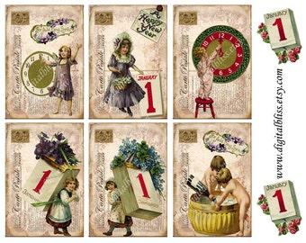 Digital Art Sale Design, Download Vintage Happy New Year Post Cards ECS,  Instant Download