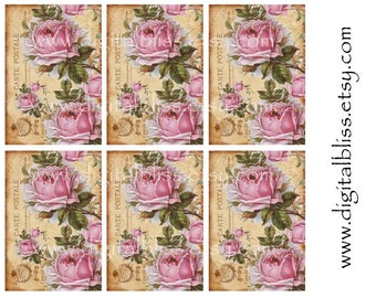 Digital Download, Roses Tag, Vintage Tags Digital Download,   You Print French Roses Chic Gift/Hang Tags, Scrapbook Embellishment