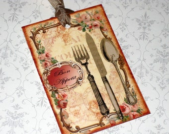 Digital Download, Vintage Style Bon Appetite Tags,  Download TAgs, You Print Tags, French Bon Appetite, Chic Gift tags, Hang Tags
