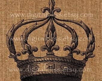 French Crown Printable Iron on Transfer Burlap Feedsack Tea Towel French Pillow No. 201