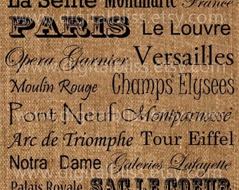 Digital Art, Paris Places Printable Art,  Iron on Transfer Burlap, Feed Sack, Tea Towel, French Pillow Transfer Art, Digital Paris Design