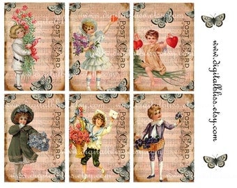 Digital Collage Sheet Hearts Flowers and Music Vintage Children Postcard ECS ATC