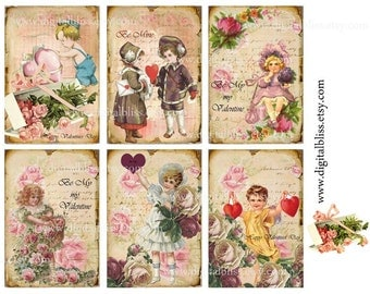 Digital Download Vintage Love Valentine Kids Cards Gift Tags ECS, Instant Download