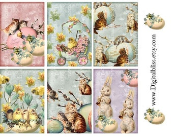 Digital Download tags, Easter Vintage Chicks, Kittens and Bunny Gift Tags Digital Downloads ECS ATC