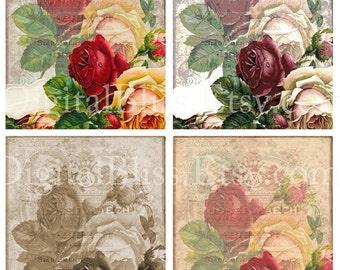 Floral Digital Art, Digital Collage Sheet, Roses,  Vintage Roses Background, Digital card, Scrapbook Embellishment, Digital Background
