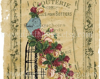 Giclee Floral French Dress Form  Digital collage sheet 7 X 11 Inches Printable File Wall Art