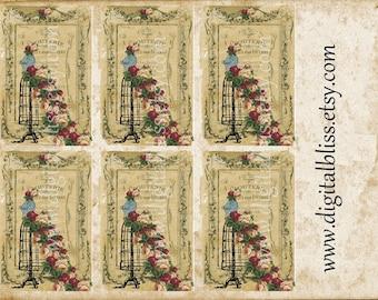 Vintage Floral Dress Form Printable Tags Digital Download Distressed Original Gift Tags