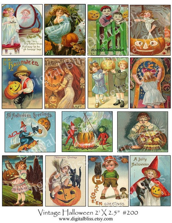 Digital Collage Sheet Vintage Halloween Images for ATC Scrapbooking 2.5 X 2 Inch