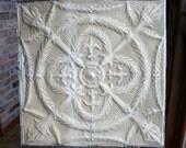 "Genuine Antique Ceiling Tile -- 24"" x 24"" -- Tan Colored Paint -- Rare Torches Design"
