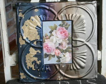 Genuine Antique Ceiling Tin Picture Frame --  4 x 6 --- Bare metal -- Beautiful Rainbow Patina