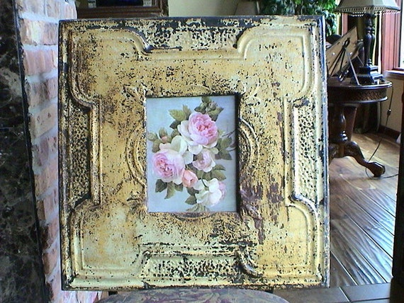 Huge Genuine Antique Ceiling Tin Picture Frame - 8x10