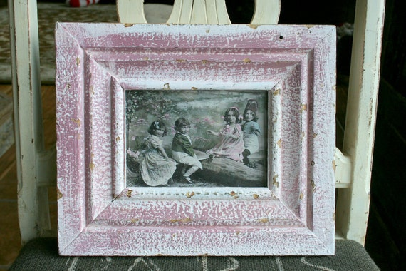 Genuine Reclaimed Antique Wood Picture Frame -- 4 x 6 -- Purple Colored Paint